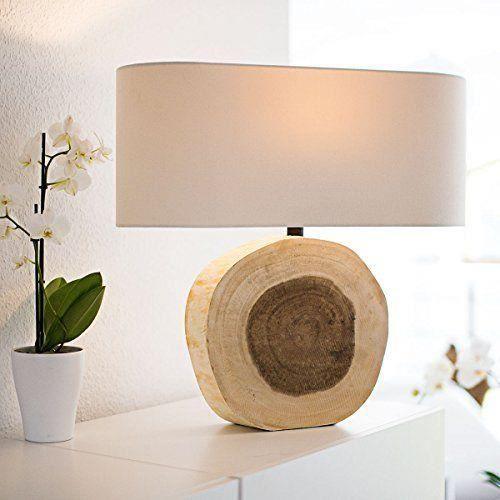 Relaxdays 10019078 lampe de table chevet tronc d arbre - Maison en tronc d arbre ...