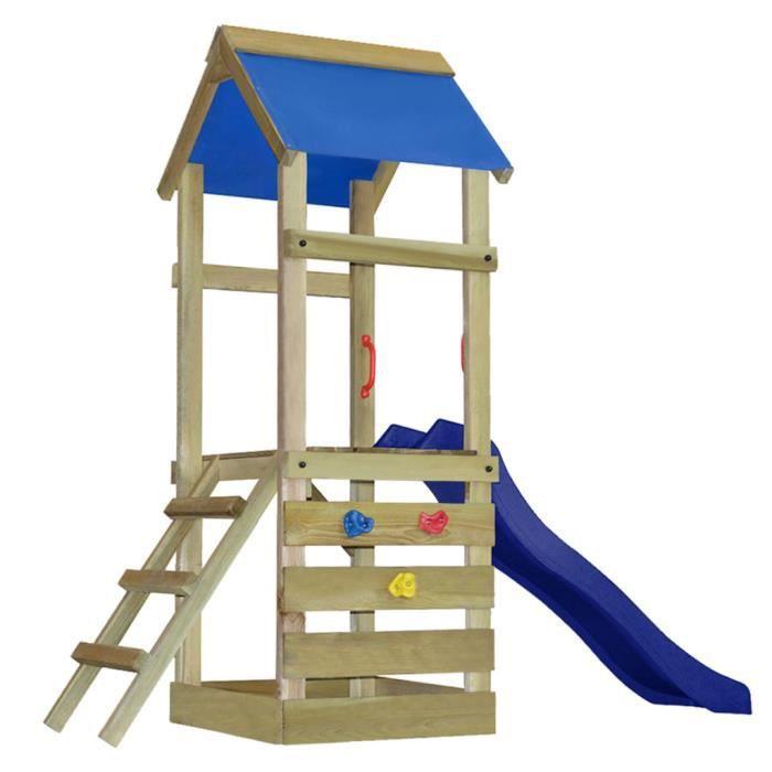 aire de jeux en bois avec chelle et toboggan achat vente balan oire po. Black Bedroom Furniture Sets. Home Design Ideas