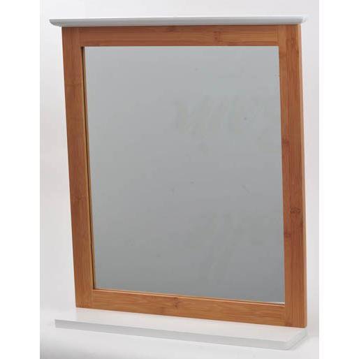 miroir avec tablette coloris blanc et bambou achat vente miroir salle de bain bambou. Black Bedroom Furniture Sets. Home Design Ideas