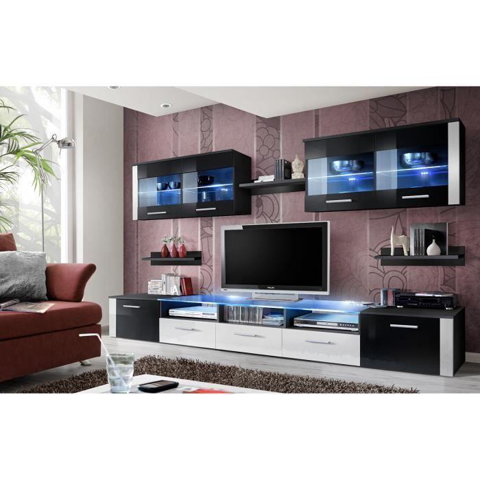 Meuble de salon meuble tv design complet focus blanc et noir brillant led vitrines for Meuble de salon noir