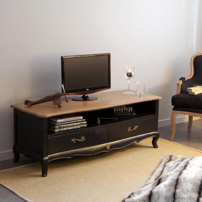 Meuble tv bas en bois avec niche et tiroir l140cm avec plateau en bois massif - Meuble tv avec niche ...
