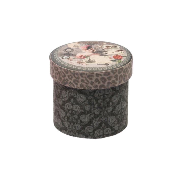 bo te ronde vintage sur fond choco carton d achat vente boite de rangement carton. Black Bedroom Furniture Sets. Home Design Ideas