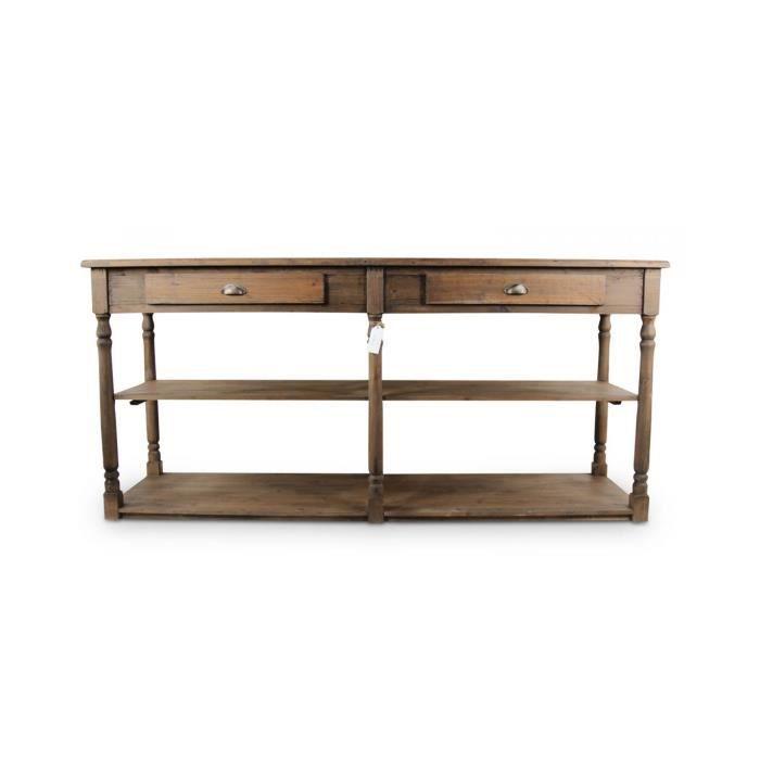 Meuble console drapier bois 2 tiroirs 190x54x87cm achat - Meuble a chaussure pas chere ...