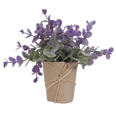 plante artificielle lavandin avec cache pot genre papier kraft achat vente fleur. Black Bedroom Furniture Sets. Home Design Ideas