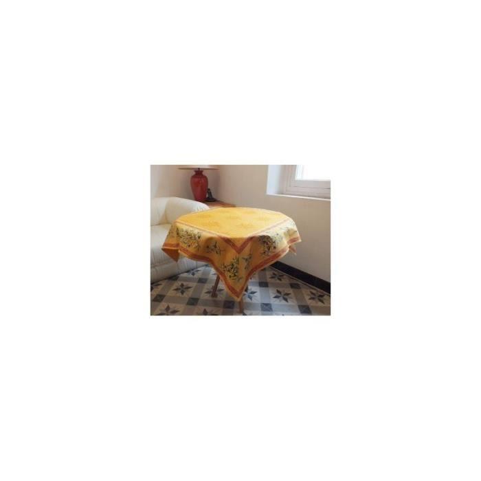 Tapis carr le clos des oliviers piqu 90x90cm jaune for Nappe de table carre