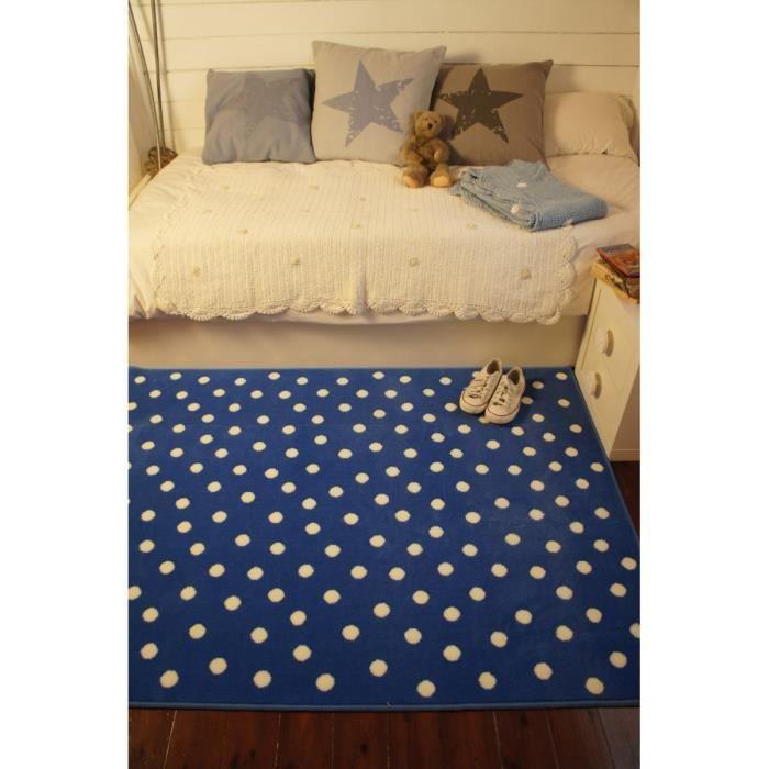tapis bleu marine pour chambre d 39 enfant dots lorena canals 140x200cm bleu marine achat. Black Bedroom Furniture Sets. Home Design Ideas