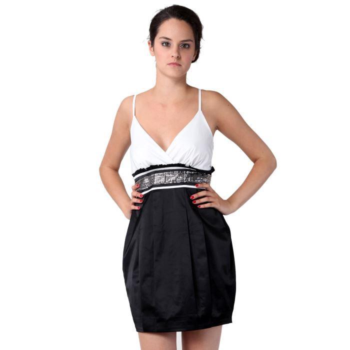 robe noire et blanche noir blanc achat vente robe robe noire et blanche cdiscount. Black Bedroom Furniture Sets. Home Design Ideas