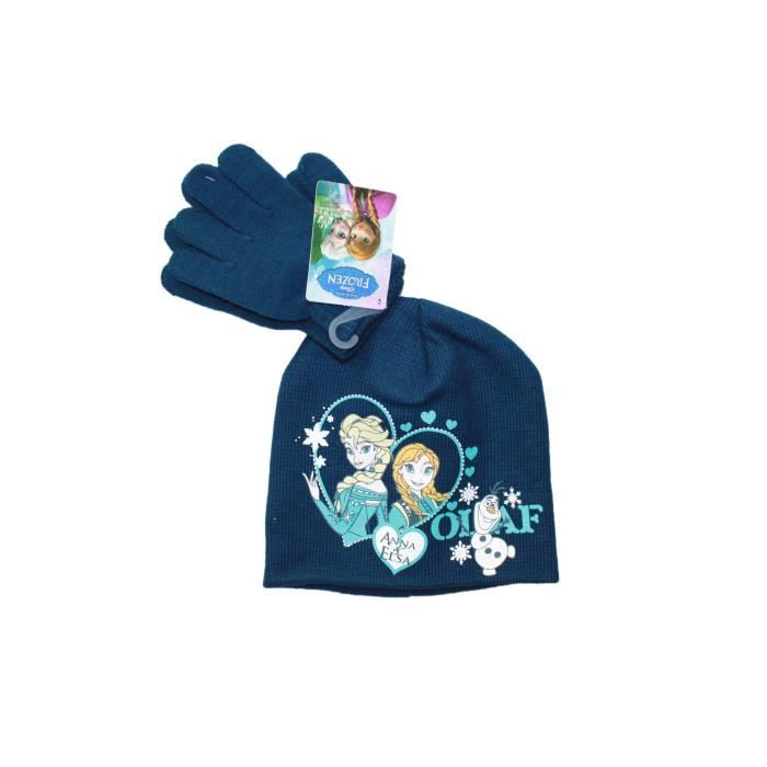 Ensemble bonnet et gants la reine des neiges bleu fonc - Gant de la reine des neiges ...