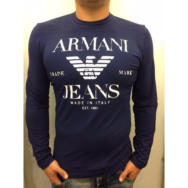 tee shirt armani jeans manches longues homme bleu bleu. Black Bedroom Furniture Sets. Home Design Ideas
