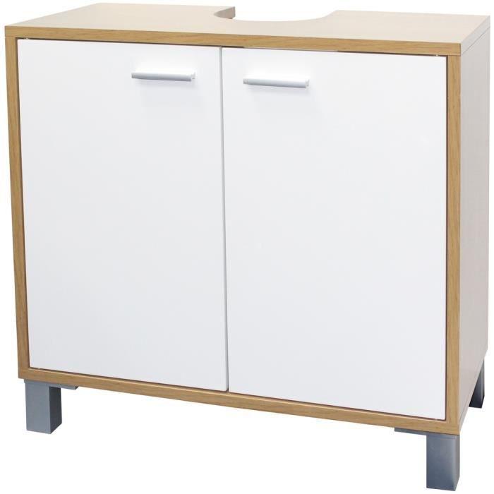 meuble de salle de bain sous vasque evier lavabo avec 2 portes de rangement achat vente. Black Bedroom Furniture Sets. Home Design Ideas