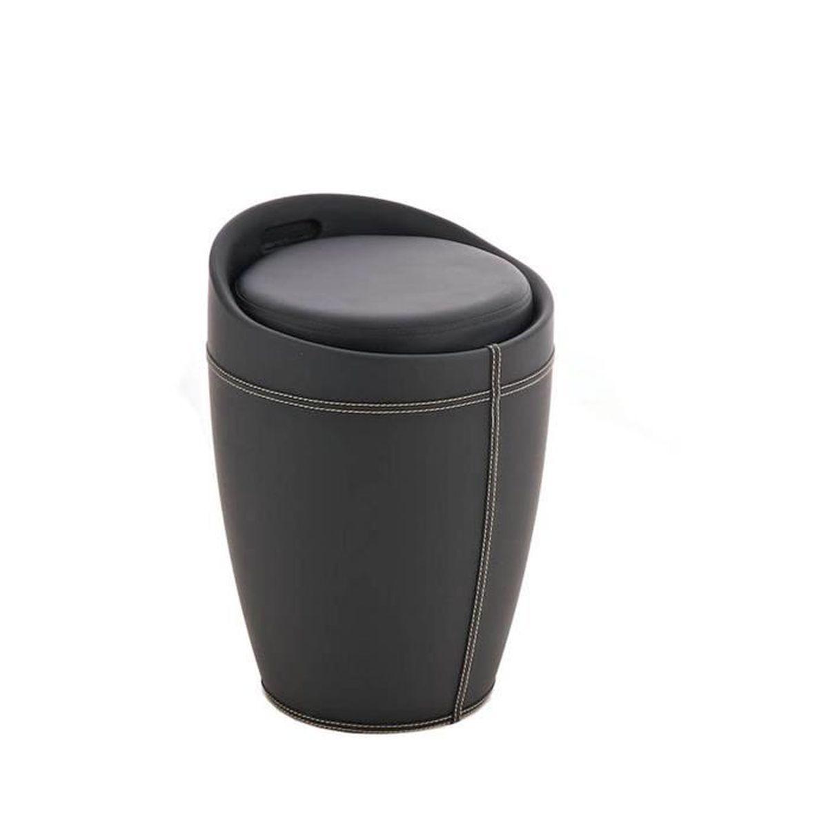 Tabouret coffre en similicuir noir 50 x 37 x 37 cm