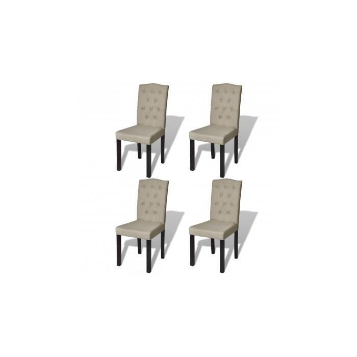 4 chaises de salle manger salon beige achat vente for Chaise de salle a manger beige