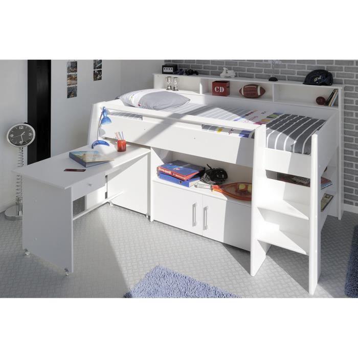 lit combin adolescent 90x200 cm blanc lilou achat vente lit combine soldes cdiscount. Black Bedroom Furniture Sets. Home Design Ideas