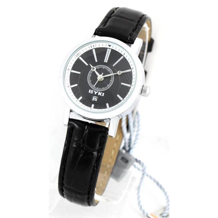 montre femme bracelet cuir noir eyki 1450 noir achat vente montre cdiscount. Black Bedroom Furniture Sets. Home Design Ideas