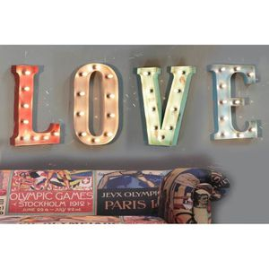 lettres love lumineuses achat vente objets lumineux d co cdiscount. Black Bedroom Furniture Sets. Home Design Ideas