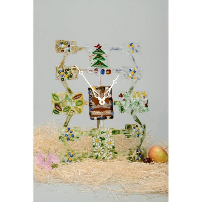 horloge artisanale en verre fait main id e cadeau d coration mural achat vente horloge. Black Bedroom Furniture Sets. Home Design Ideas