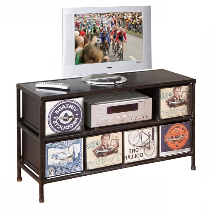 Meuble tv en m tal coloris noir 6 niches achat vente meuble tv meuble t - Meuble tv metal noir ...
