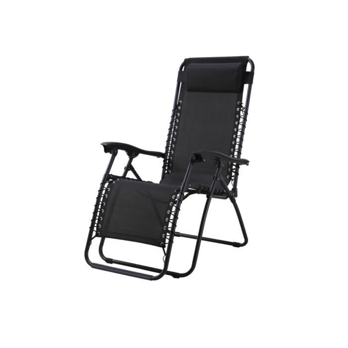 Relax transat multi positions gris anthracite achat for Chaise longue gris anthracite