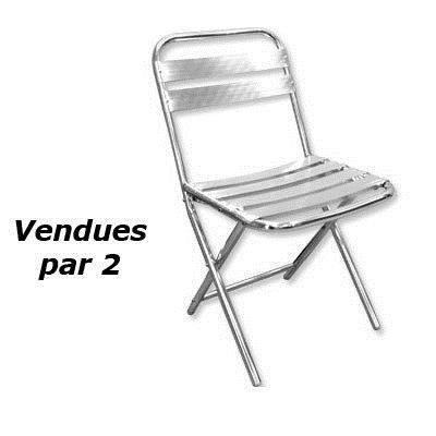 Chaise aluminium pliante lot de 2 par 2 achat vente - Chaise de jardin pliante aluminium ...