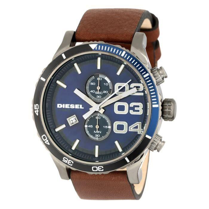 diesel montre quartz dz4312 bracelet cuir homme marron. Black Bedroom Furniture Sets. Home Design Ideas