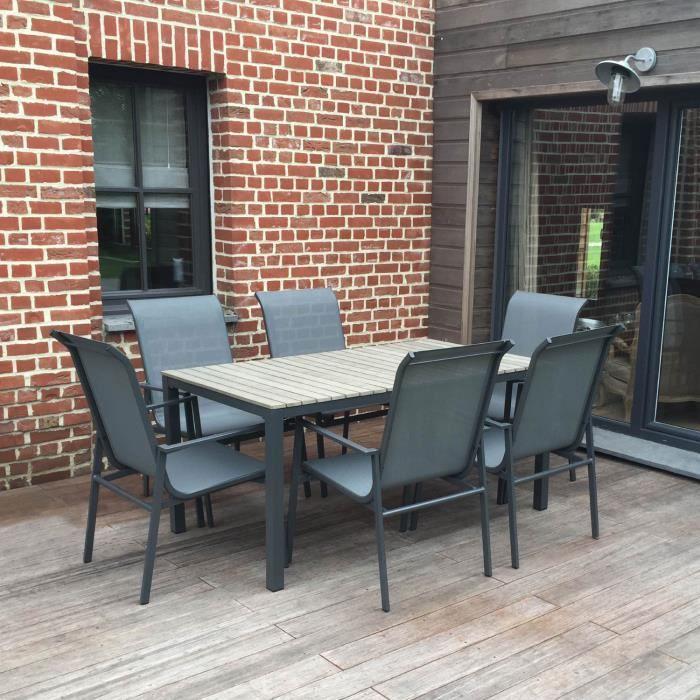 Salon De Jardin En Aluminium Polywood Et Textil Ne Table 6 Chaises Achat Vente Salon De