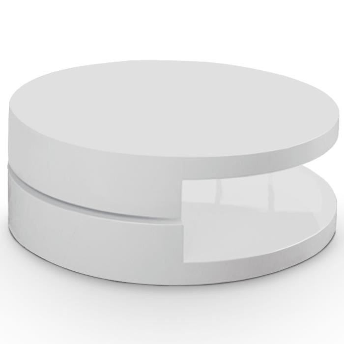 Table basse rodelle laqu blanc achat vente table - Table basse ronde blanche pas cher ...