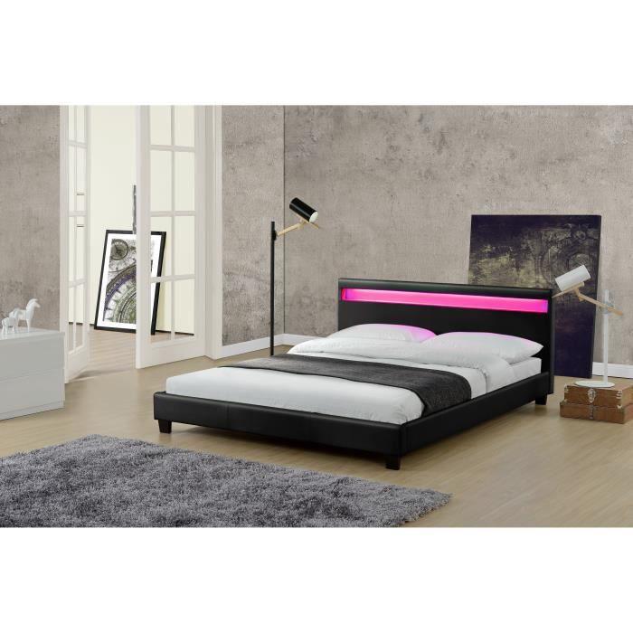 le valentin noir cadre de lit led en simili 160 x 200 cm. Black Bedroom Furniture Sets. Home Design Ideas