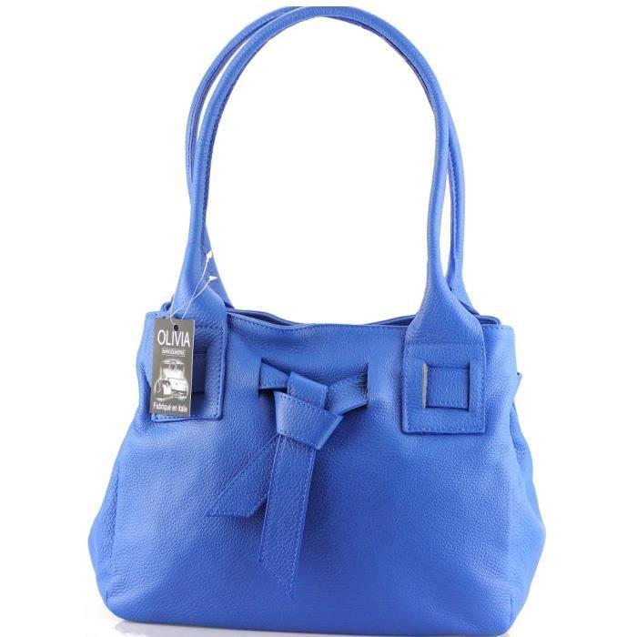 Sac à main cuir bleu N1378 Sac en cuir véritable Nouvelle Collection ...