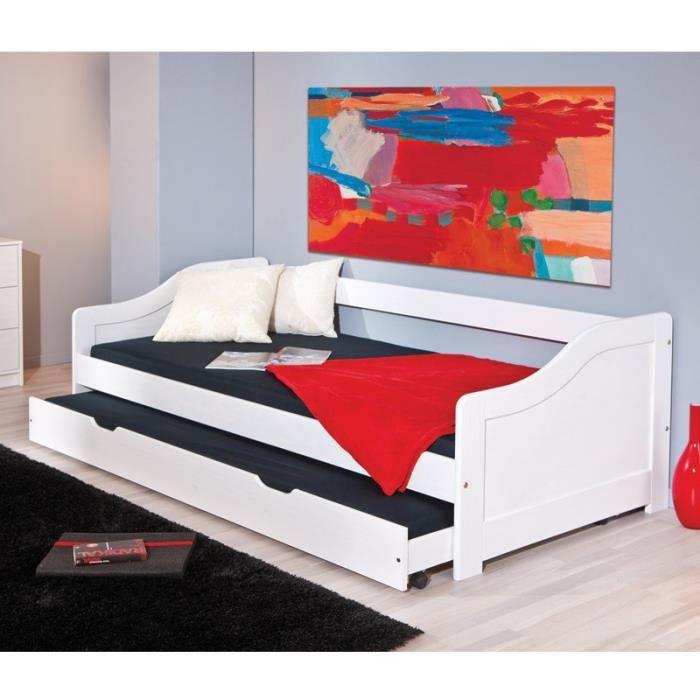paris prix lit banquette 90x190 tom blanc achat vente lit complet paris prix lit. Black Bedroom Furniture Sets. Home Design Ideas