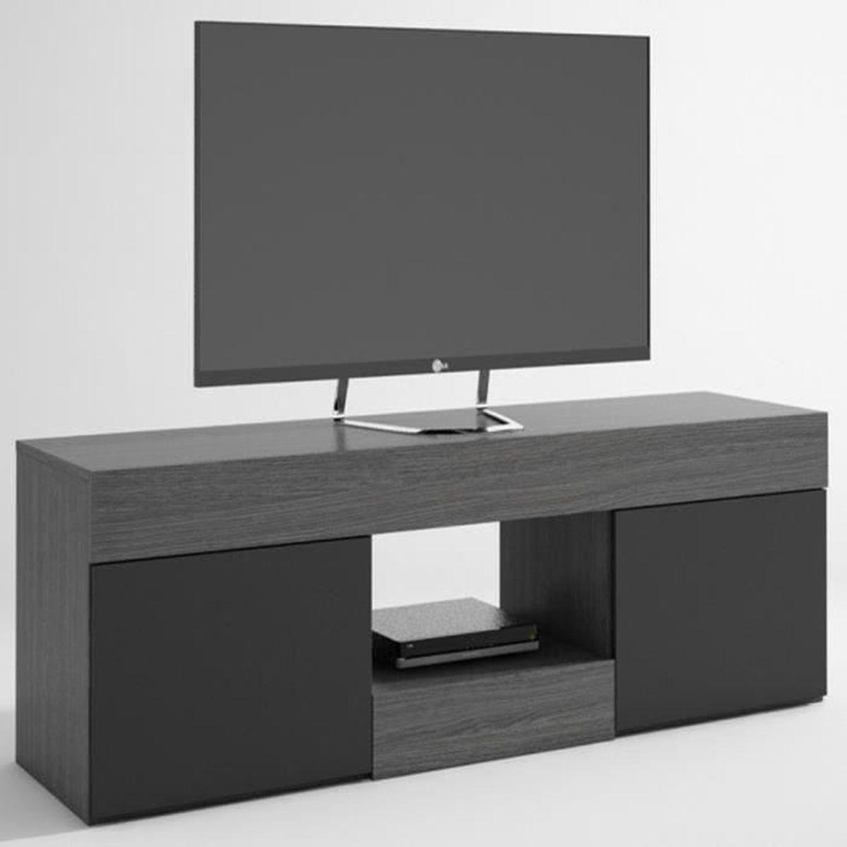 Meuble tv nylon avec 2 portes coloris cendre et noir - Meuble tv avec porte ...
