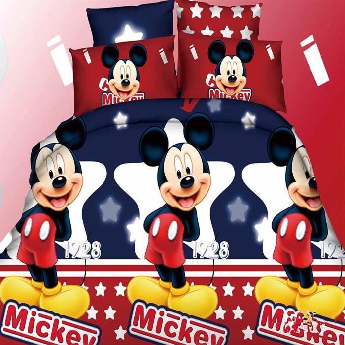L m disney mickey parure de couette parure de lit 1 housse de couette220x 240 cm 2 taie d - Parure de lit mickey adulte ...