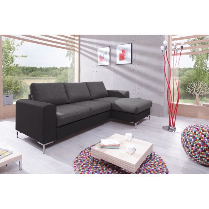 Canap lilly angle droit convertible coffre bicolore gris gris anthracite a - Canape convertible bicolore ...