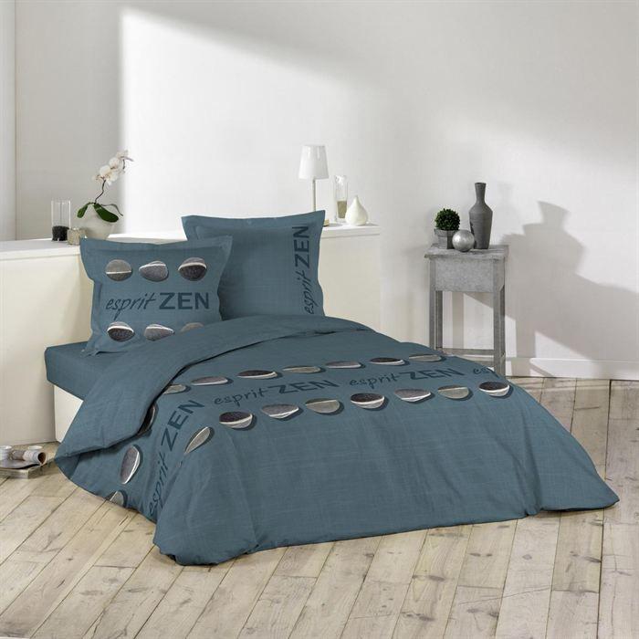 parure de lit 3 pi ces 240x220 esprit zen bleu achat vente parure de couette cdiscount. Black Bedroom Furniture Sets. Home Design Ideas