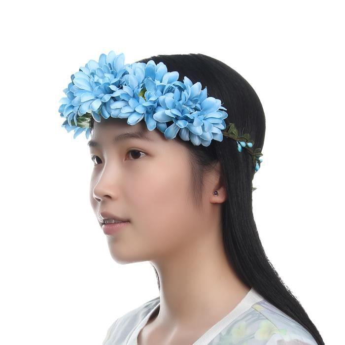 couronne bandeau serre t te cheveux guirlande fleur bleu pour spectacle mariage achat vente. Black Bedroom Furniture Sets. Home Design Ideas