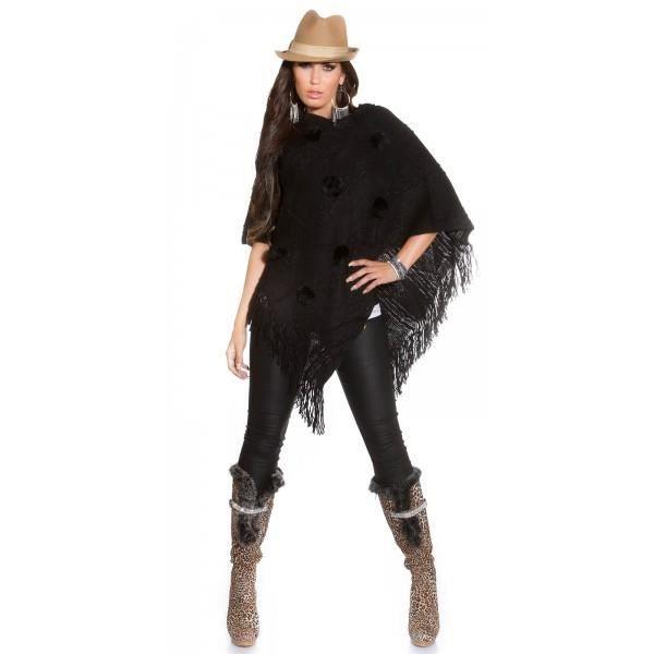 poncho noir avec pompons et franges femme noir achat vente veste 2009955312785 cdiscount. Black Bedroom Furniture Sets. Home Design Ideas