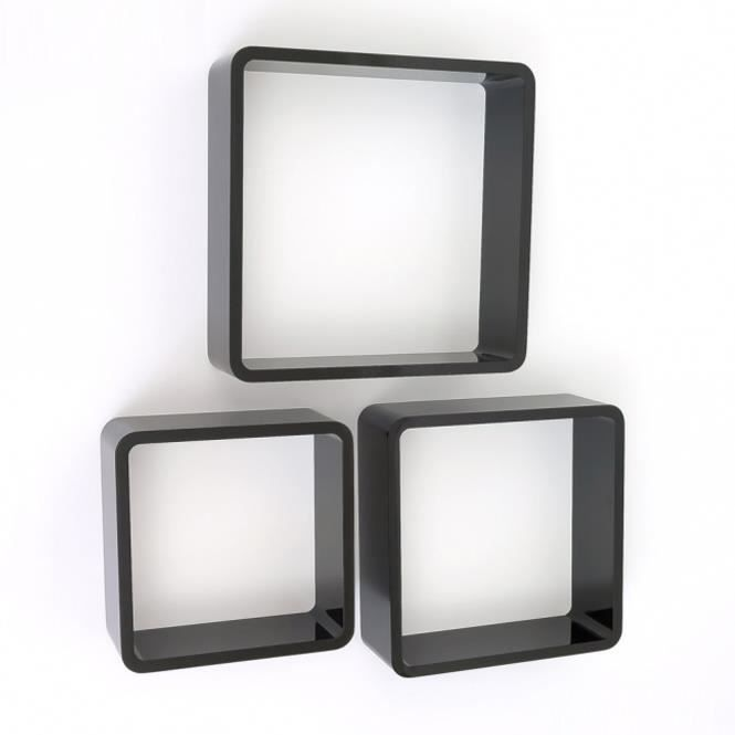 tag re cube murale de 3 pi ces noir achat vente etag re murale tag re cube murale noir 3p. Black Bedroom Furniture Sets. Home Design Ideas