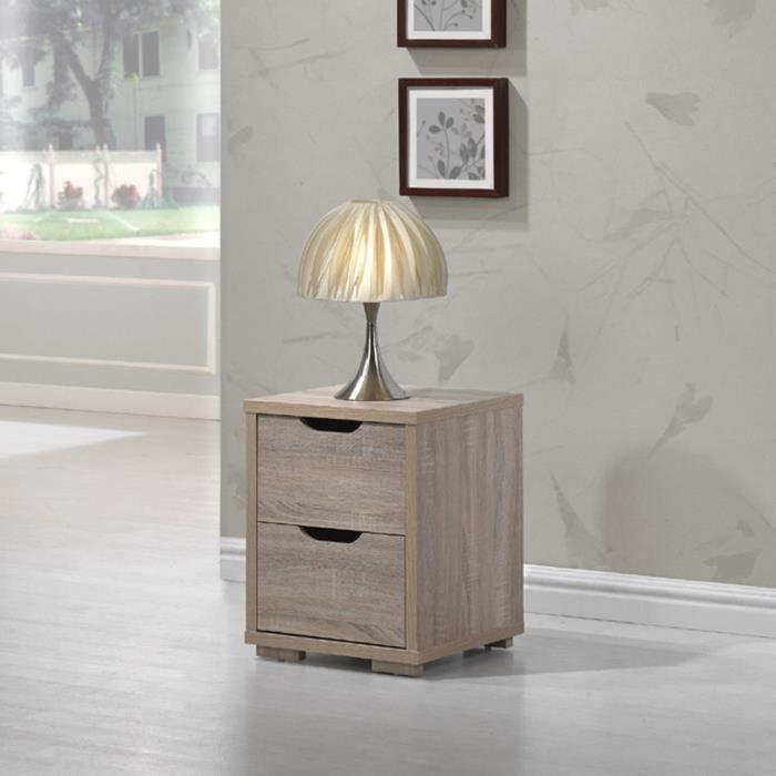 Table de chevet en bois mdf avec 2 tiroirs coloris ch ne clair dim h50 x - Table de chevet bois clair ...
