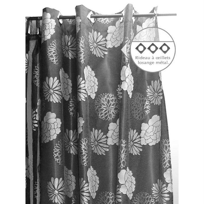 rideau a oeillets 140x250 cm hortensia noir achat. Black Bedroom Furniture Sets. Home Design Ideas