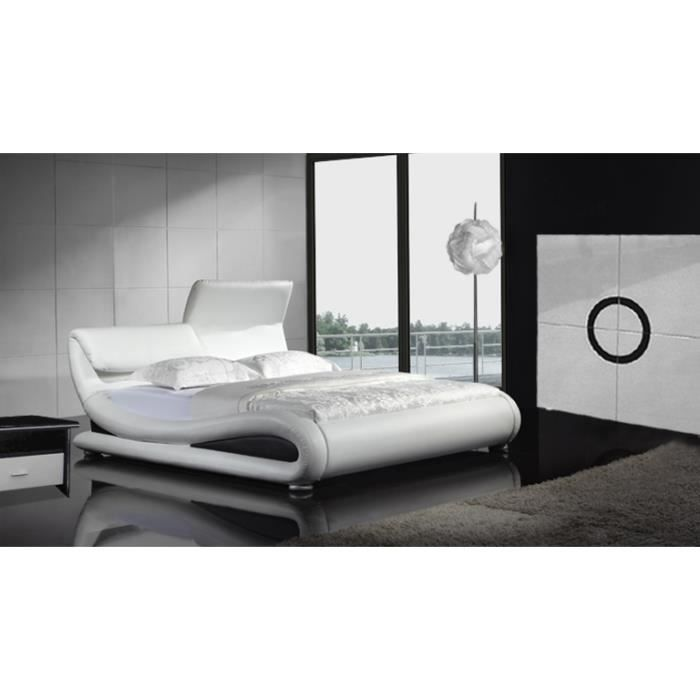 lit cuir tendance ear avec appuies t tes 160 x 200 cm achat vente lit complet lit cuir. Black Bedroom Furniture Sets. Home Design Ideas