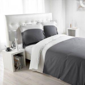 Housse de couette 220x240 gris blanc achat vente Housse de couette grise 220x240