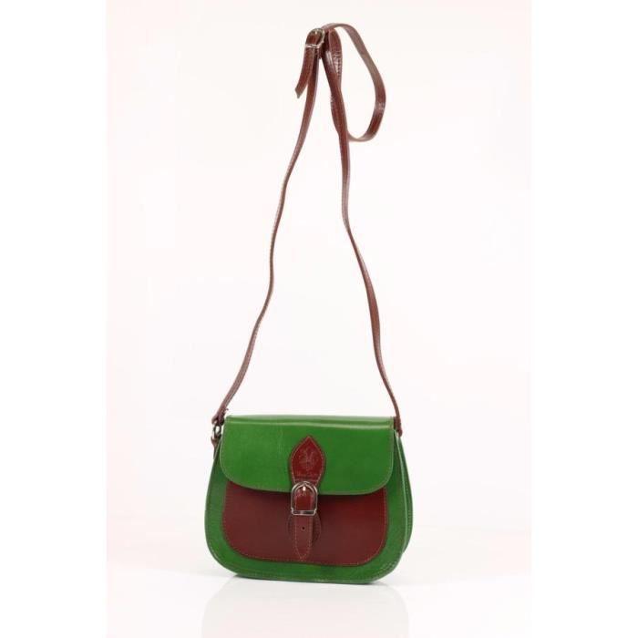 petit sac bandouli re en cuir pas cher femme vert lucy. Black Bedroom Furniture Sets. Home Design Ideas