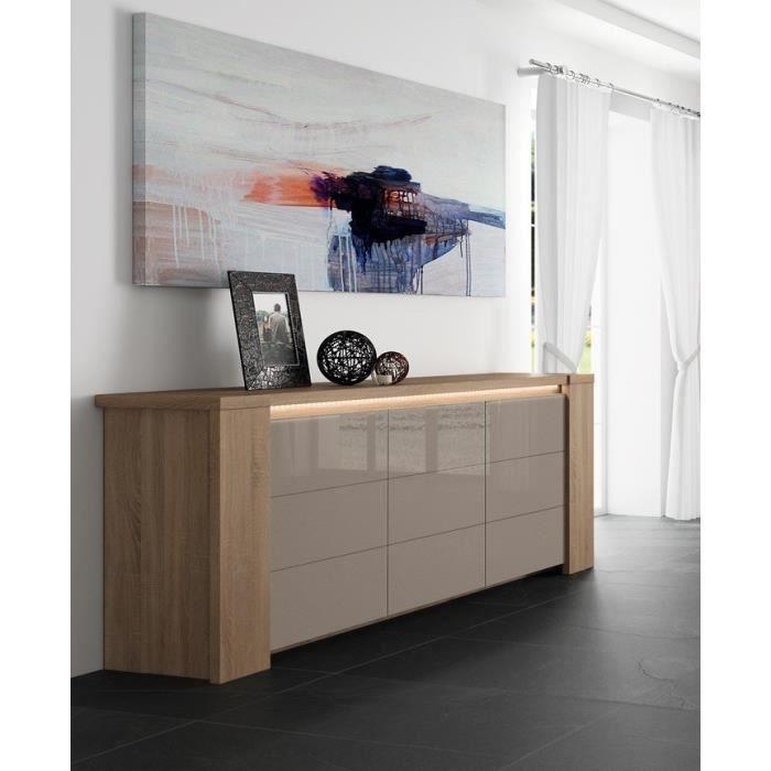 buffet bahut couleur ch ne clair et verre taupe gris laqu contemporain adriely 2 avec tiroir. Black Bedroom Furniture Sets. Home Design Ideas
