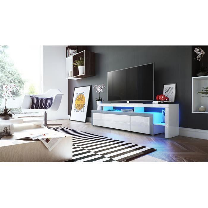 Meuble tv blanc et bordure gris avec led 193 cm achat for Meuble tv blanc et gris