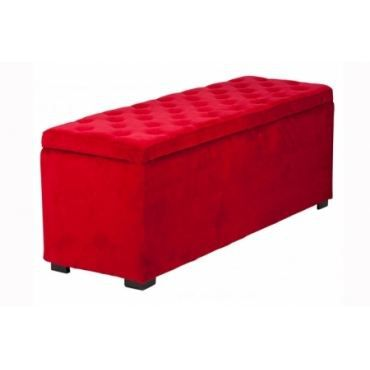 Banquette coffre velours capitonn rouge achat vente banc mati re de la s - Banc coffre capitonne ...