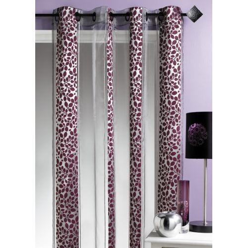 rideau motif feuillage prune 140 x 260cm achat vente rideau voilage organza 100. Black Bedroom Furniture Sets. Home Design Ideas