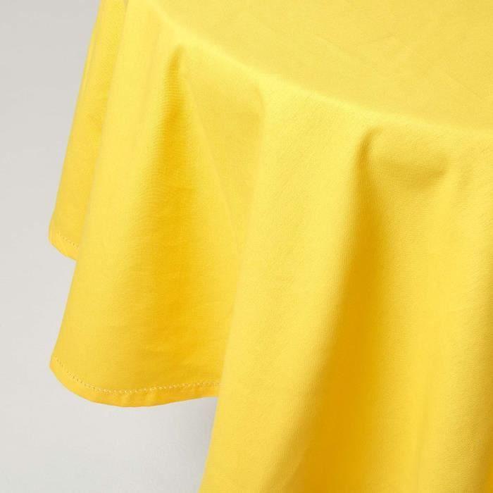 Nappe ronde 100 coton jaune 180 cm achat vente for Nappe de table carre