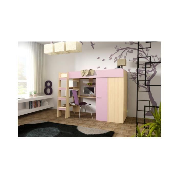 Chambre enfant domino violet et bois achat vente lit for Achat chambre enfant