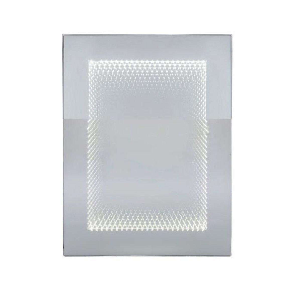 Miroir tube 80x60 cm led kare design achat vente for Vente miroir design