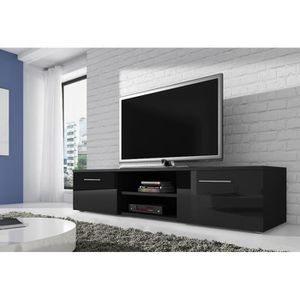 Aura meuble tv contemporain en bois blanc brillant l 155 - Cdiscount meubles tv ...