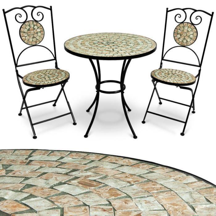 Salon mosaique 1 table et 2 chaises achat vente for Salon de jardin mosaique